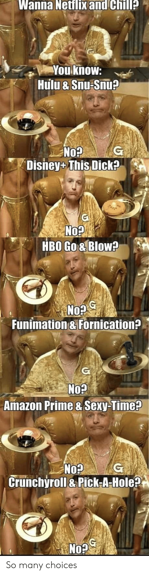 Amazon, Amazon Prime, and Chill: Wanna Netflix and Chill?  You know:  Hulu & Snu Snu?  G  No?  Disney+ This Dick?  No?  HBO Go& Blow?  G  No?  Funimation & Fornication?  G  No?  Amazon Prime & Sexy-Time?  No?  Crunchyroll&Pick-A-Hole?  G So many choices
