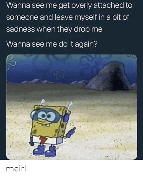 Do It Again, MeIRL, and Pit: Wanna see me get overly attached to  someone and leave myself in a pit of  sadness when they drop me  Wanna see me do it again? meirl