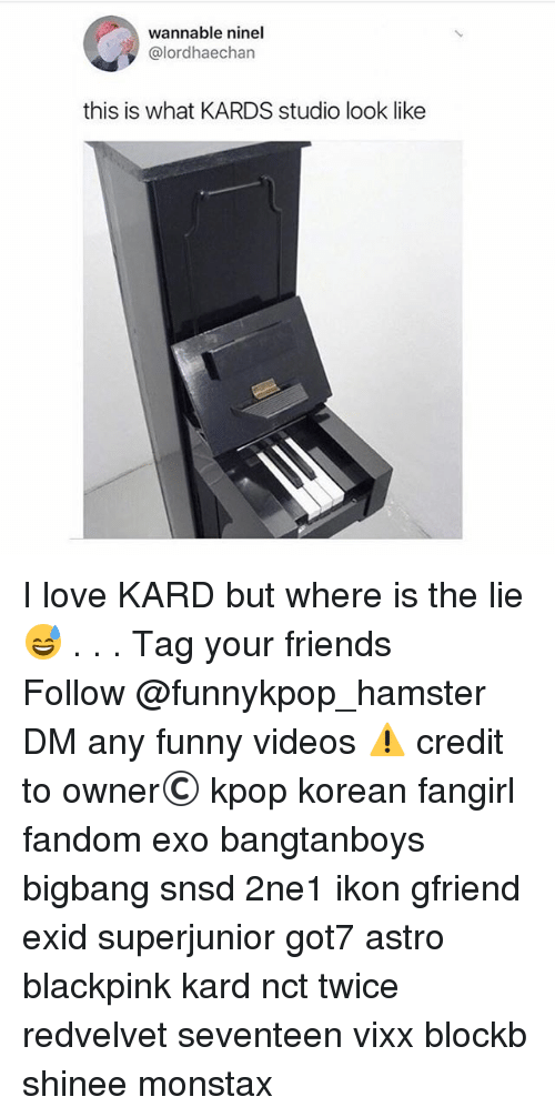 Friends, Funny, and Love: wannable ninel  @lordhaechan  this is what KARDS studio look like I love KARD but where is the lie 😅 . . . 》Tag your friends 》》 Follow @funnykpop_hamster 》》》DM any funny videos ⚠ credit to owner© kpop korean fangirl fandom exo bangtanboys bigbang snsd 2ne1 ikon gfriend exid superjunior got7 astro blackpink kard nct twice redvelvet seventeen vixx blockb shinee monstax