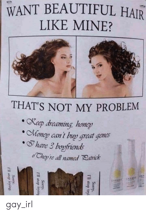 Beautiful, Money, and Sorry: WANT BEAUTIFUL HAIR  LIKE MINE?  THAT'S NOT MY PROBLEM  Keep dreaming, honey  Money can't buy great genes  hare 3 boyfiends  o Chey re all named Ratrick  taHAVE naus  Sorry,  I'ill stop tryi  Sorry  I'll stop trying  Sorry  T'll stop trying. gay_irl