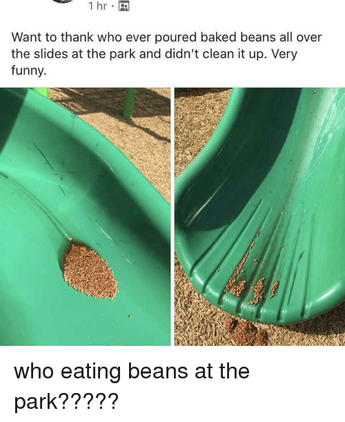Want To Thank Who Ever Poured Baked Beans All Over The Slides At The Park And Didn T Clean It Up Very Funny Who Eating Beans At The Park Baked Meme On