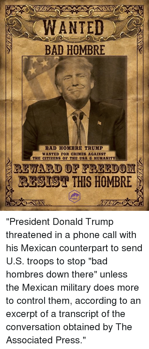 wanted bad hombre bad hombre trump wanted for crimes against 13443508 ✅ 25 best memes about bad hombres trump bad hombres trump memes