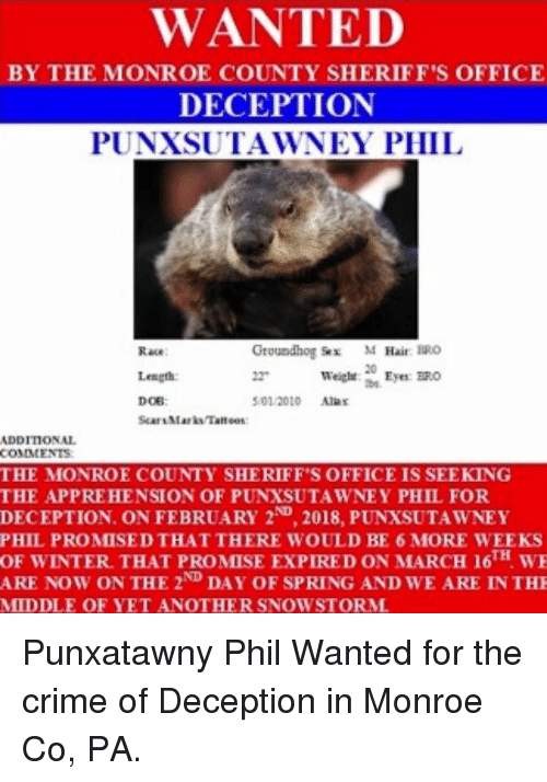 WANTED BY THE MONROE COUNTY SHERIFF'S OFFICE DECEPTION PUNXSUTAWNEY