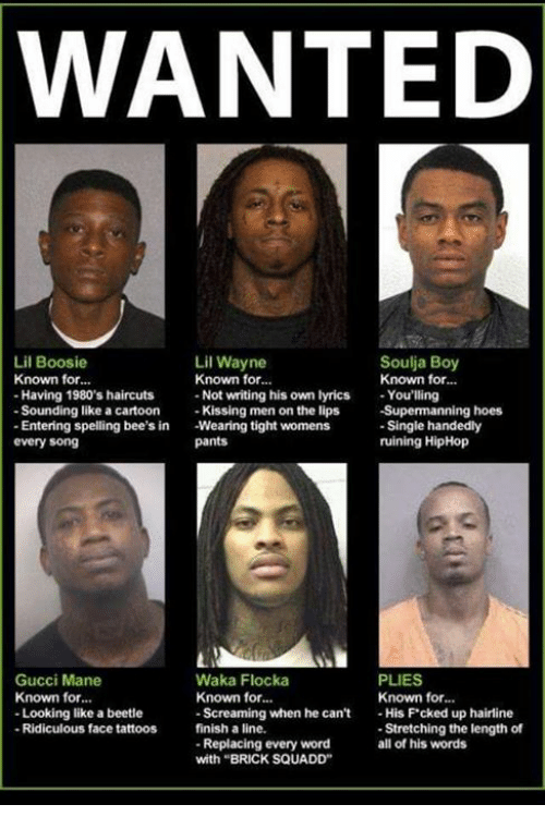 WANTED Lil Boosie Lil Wayne Soulja Boy Known for Known for Known for ... ae0d80401