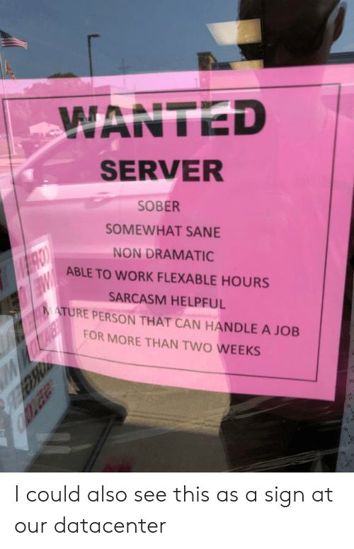 WANTED SERVER SOBER SOMEWHAT SANE NON DRAMATIC ABLE TO WORK