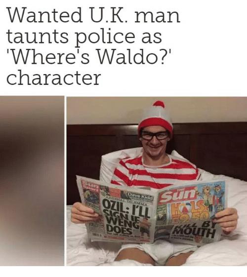 Wanted Uk Man Taunts Police As Wheres Waldo Character Meme On Meme