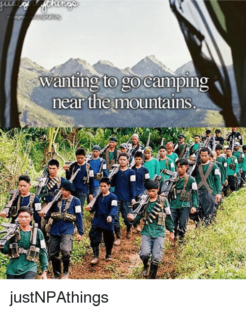 Filipino (Language),  Camping, and  Mountain: Wanting to go camping  near the mountains. justNPAthings