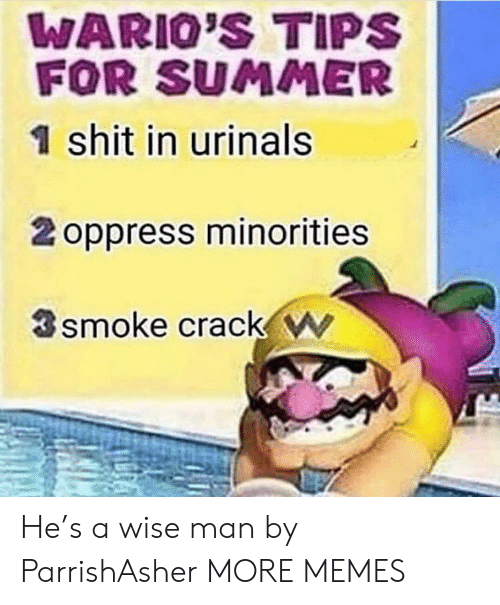 Dank, Memes, and Target: WARIO'S TIPS  FOR SUMMER  1 shit in urinals  2 oppress minorities  smoke crack w He's a wise man by ParrishAsher MORE MEMES