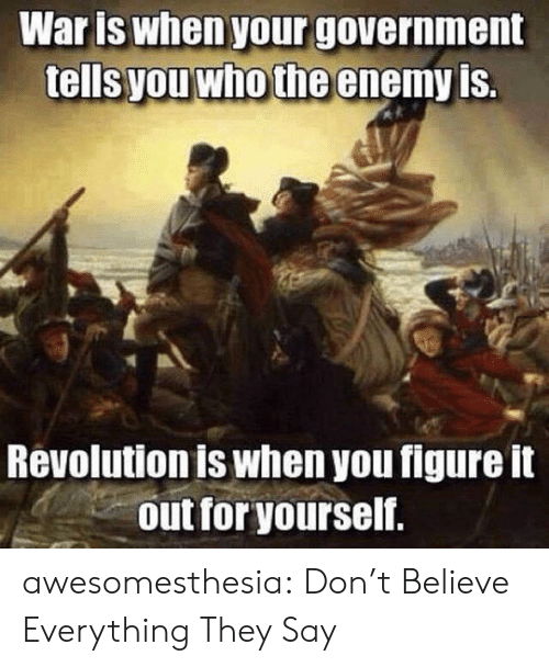 Tumblr, Blog, and Revolution: Waris when your government  tells you who the enemy is.  Revolution is when you figure it  out for yourself. awesomesthesia:  Don't Believe Everything They Say