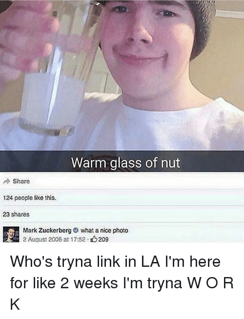 Memes, Link, and Nice: Warm glass of nut  Share  124 people like this  23 shares  Mark Zuckerbergwhat a nice photo  2 August 2008 at 17:52 . 209  tu Who's tryna link in LA I'm here for like 2 weeks I'm tryna W O R K