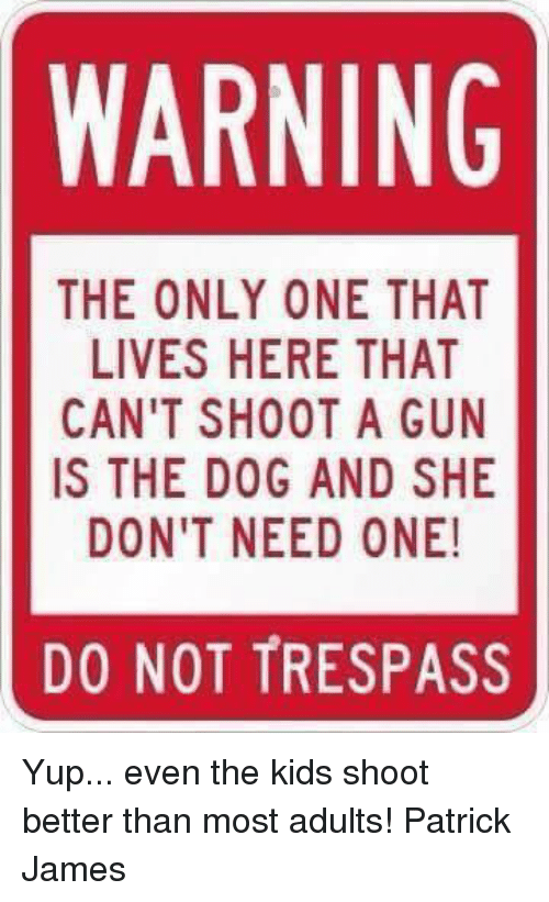 Memes, Kids, and Only One: WARNING  THE ONLY ONE THAT  LIVES HERE THAT  CAN'T SHOOT A GUN  IS THE DOG AND SHE  DON'T NEED ONE!  DO NOT TRESPASS Yup... even the kids shoot better than most adults!  Patrick James