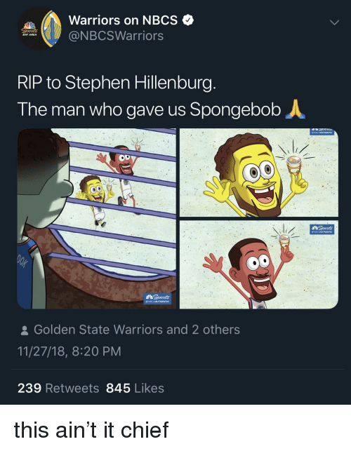 Warriors On Nbcs Bay Area Rip To Stephen Hillenburg The Man Who