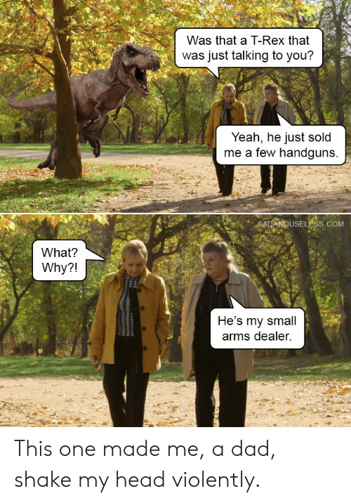 Dad, Head, and Yeah: Was that a T-Rex that  was just talking to you?  Yeah, he just sold  me a few handguns  SADANDUSELËSS.COM  What?  Why?!  He's my small  arms dealer. This one made me, a dad, shake my head violently.