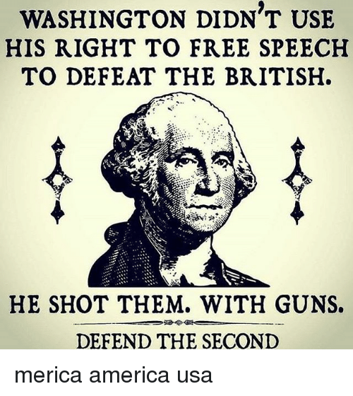 America, Guns, and Memes: WASHINGTON DIDN T USE  HIS RIGHT TO FREE SPEECH  TO DEFEAT THE BRITISH.  HE SHOT THEM. WITH GUNS.  骨令  DEFEND THE SECOND merica america usa
