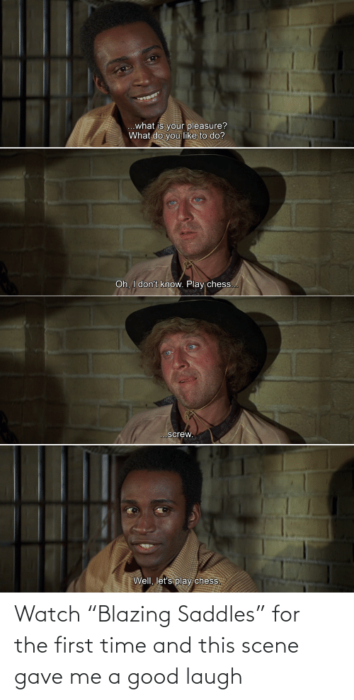 """Good, Time, and Watch: Watch """"Blazing Saddles"""" for the first time and this scene gave me a good laugh"""