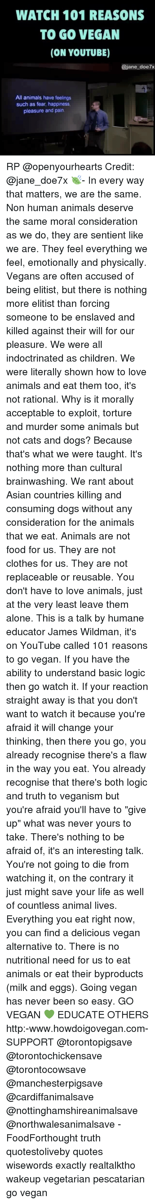 WATCH 101 REASONS TO GO VEGAN ON YOUTUBE Doe7x All Animals Have ...