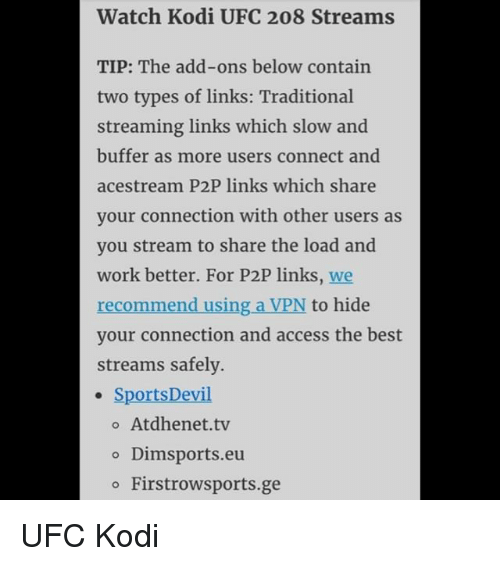 Watch Kodi UFC 208 Streams TIP the Add-Ons Below Contain Two Types