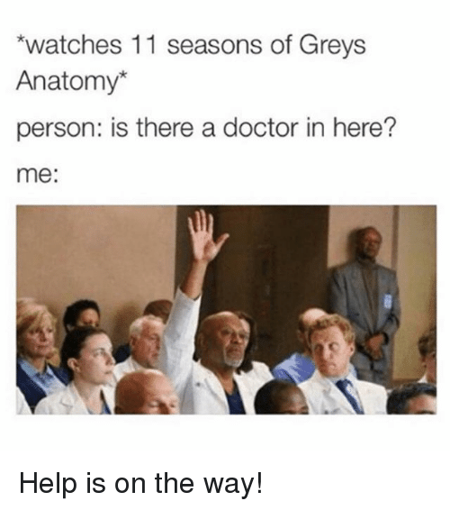Doctor, Grey's Anatomy, and Help: watches 11 seasons of Greys  Anatomy*  person: is there a doctor in here?  me: Help is on the way!