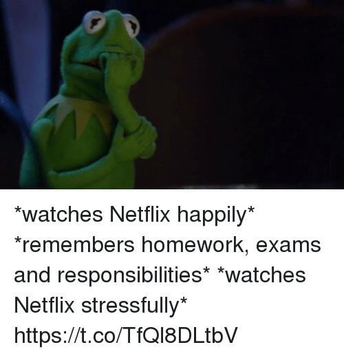 Netflix, Watches, and Homework: *watches Netflix happily* *remembers homework, exams and responsibilities* *watches Netflix stressfully* https://t.co/TfQl8DLtbV