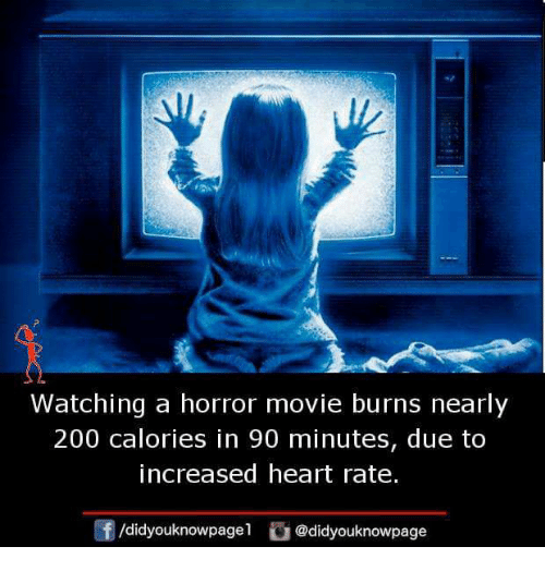 Bailey Jay, Memes, and Heart: Watching a horror movie burns nearly  200 calories in 90 minutes, due to  increased heart rate.  団/didyouknowpage1  @d.dyouknowpage