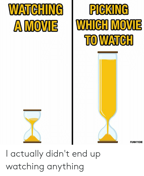 Dank, Movie, and Watch: WATCHING  PICKING  WHICH MOVIE  TO WATCH  A MOVIE  FUNNYSDIE I actually didn't end up watching anything