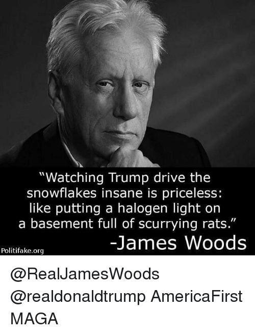 "Memes, James Woods, and 🤖: ""Watching Trump drive the  snowflakes insane is priceless:  like putting a halogen light on  a basement full of scurrying rats.""  James Woods  Politifake.org @RealJamesWoods @realdonaldtrump AmericaFirst MAGA"