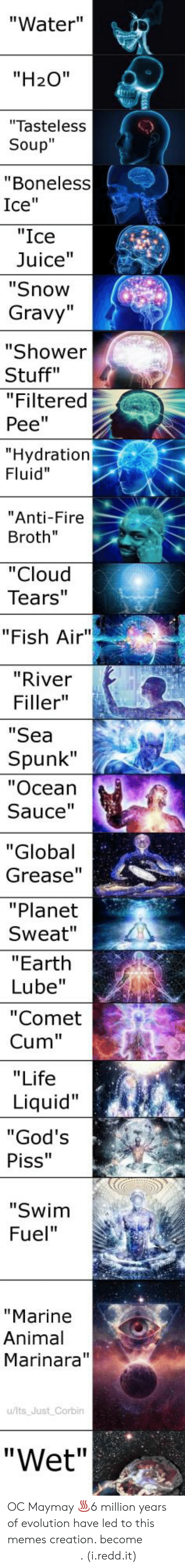 "Cum, Fire, and Juice: ""Water""  ""H20""  ""Tasteless  Soup""  ""Boneless  Ice""  ""Ice  Juice""  ""Snow  Gravy""  ""Shower  Stuff""  ""Filtered  Pee""  Hydration  Fluid""  Anti-Fire  Broth""  ""Cloud  Tears""  ""Fish Air""  ""River  Filler""  ""Sea  Spunk""  ""Ocean  Sauce  ""Global  Grease'""  ""Planet  Sweat""  ""Earth  Lube""  ""Comet  Cum""  ""Life  Liquid""  God's  Piss""  ""Swim  Fuel""  ""Marine  Animal  Marinara""  u/lts Just Corbin  ""Wet"" OC Maymay ♨6 million years of evolution have led to this memes creation. become 𝓮 𝓷 𝓵 𝓲 𝓰 𝓱 𝓽 𝓮 𝓷 𝓮 𝓭. (i.redd.it)"