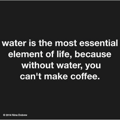 Life, Memes, and Coffee: water is the most essential  element of life, because  without water, you  can't make coffee.  © 2014 Nina Dobrev