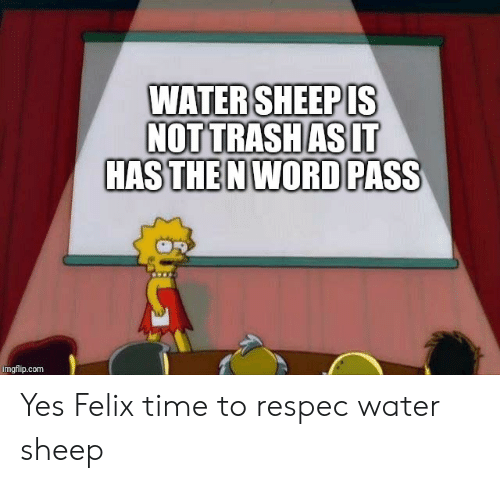 Trash, Time, and Water: WATER SHEEP IS  NOT TRASH AS IT  HAS THE N WORD PASS  imgflip.com Yes Felix time to respec water sheep