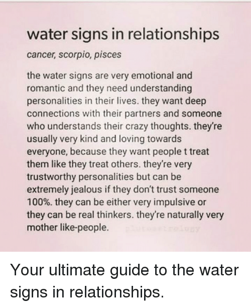 Water Signs in Relationships Cancer Scorpio Pisces the Water Signs
