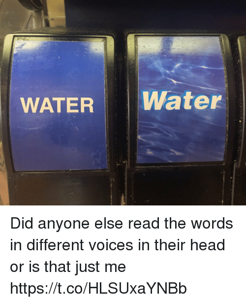 Head, Water, and Girl Memes: WATER Water Did anyone else read the words in different voices in their head or is that just me https://t.co/HLSUxaYNBb