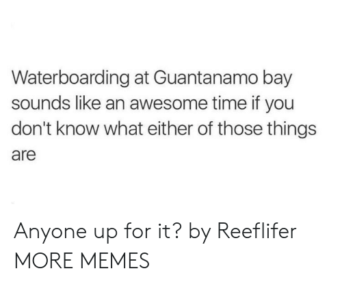 Dank, Memes, and Target: Waterboarding at Guantanamo bay  sounds like an awesome time if you  don't know what either of those things  are Anyone up for it? by Reeflifer MORE MEMES