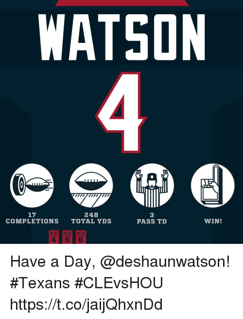 Memes, Texans, and 🤖: WATSON  17  248  3  PASS TD  COMPLETIONS TOTAL YDS  WIN! Have a Day, @deshaunwatson! #Texans  #CLEvsHOU https://t.co/jaijQhxnDd