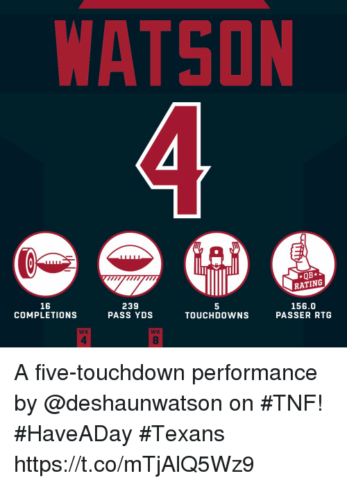 Memes, Texans, and 🤖: WATSON  *QB*  RATING  16  COMPLETIONS  239  PASS YDS  5  TOUCHDOWNS  156.0  PASSER RTG  WK  WK  4  8 A five-touchdown performance by @deshaunwatson on #TNF! #HaveADay #Texans https://t.co/mTjAlQ5Wz9