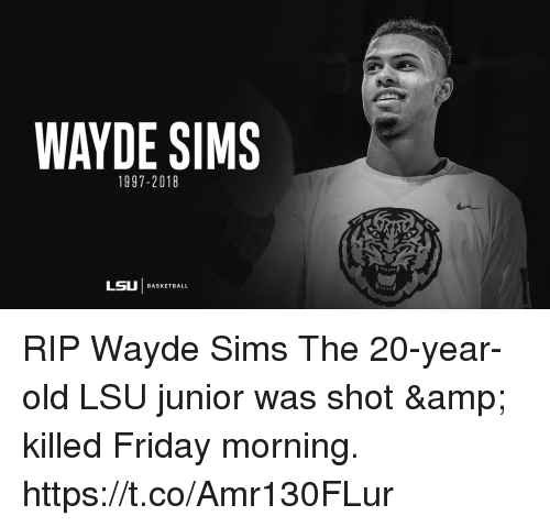 WAYDE SIMS 1997-2018 LSU | BASKETBALL RIP Wayde Sims the 20
