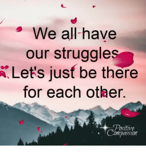 Memes, Struggle, and Compassion: We all-have  our struggle  Let's jusf be there  for each other.  ositive  Compassion