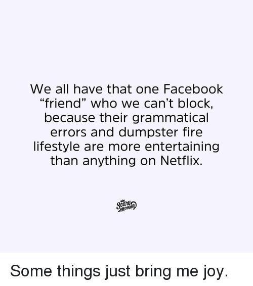 "Dank, Facebook, and Fire: We all have that one Facebook  ""friend"" who we can't bloCK,  because their grammatical  errors and dumpster fire  lifestyle are more entertaining  than anything on Netflix.  momi Some things just bring me joy."