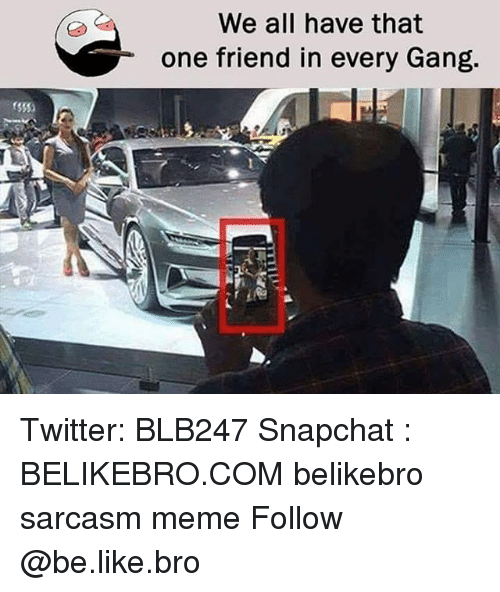 Be Like, Meme, and Memes: We all have that  one friend in every Gang. Twitter: BLB247 Snapchat : BELIKEBRO.COM belikebro sarcasm meme Follow @be.like.bro