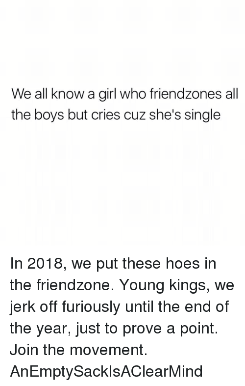 Friendzone, Hoes, and Memes: We all know a girl who friendzones all  the boys but cries cuz she's single In 2018, we put these hoes in the friendzone. Young kings, we jerk off furiously until the end of the year, just to prove a point. Join the movement. AnEmptySackIsAClearMind