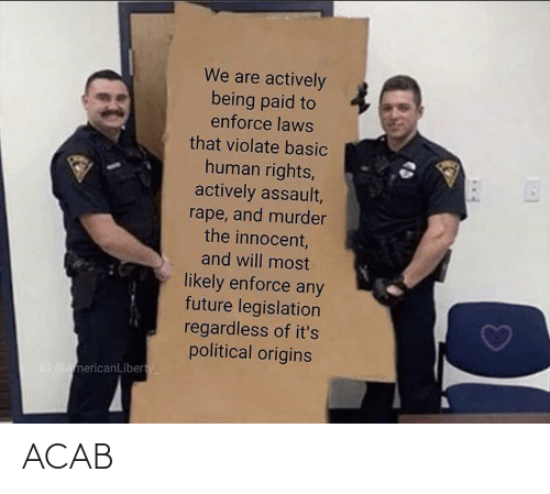 Future, Rape, and Murder: We are actively  being paid to  enforce laws  that violate basic  human rights,  actively assault,  rape, and murder  the innocent,  and will most  likely enforce any  future legislation  regardless of it's  political origins  IG AmericanLiberty ACAB