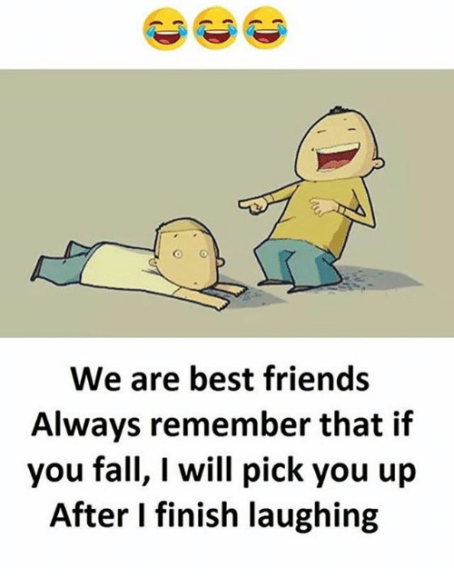 Fall, Friends, and Memes: We are best friends  Always remember that if  you fall, I will pick you up  After I finish laughing