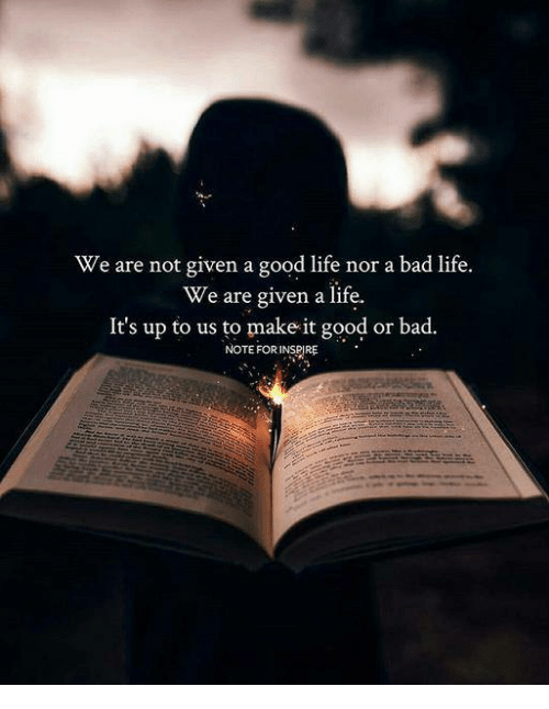 We Are Not Given A Good Life Nor A Bad Life We Are Given A