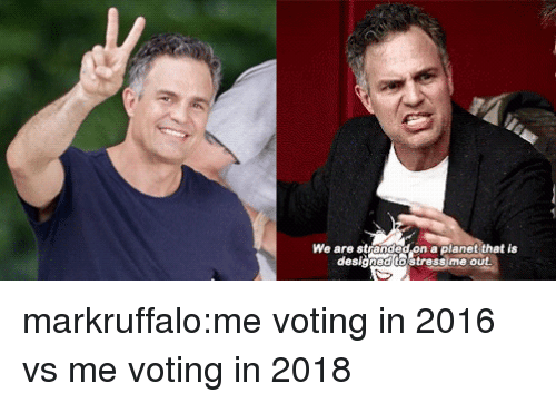 Tumblr, Blog, and Http: We are stranded on a planet that is  designed to Stress me out markruffalo:me voting in 2016 vs me voting in 2018