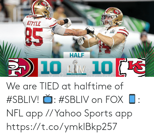 Memes, Nfl, and Sports: We are TIED at halftime of #SBLIV!   📺: #SBLIV on FOX 📱: NFL app // Yahoo Sports app https://t.co/ymklBkp257