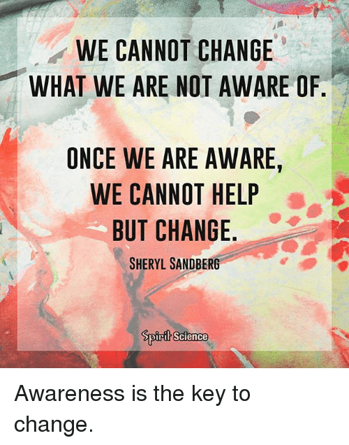 Memes, Help, and Science: WE CANNOT CHANGE  WHAT WE ARE NOT AWARE O  ONCE WE ARE AWARE,  WE CANNOT HELP  BUT CHANGE  SHERYL SANDBERG  oirit Science Awareness is the key to change.