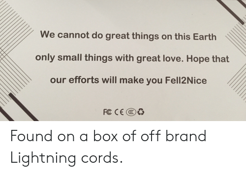 Love, Earth, and Lightning: We cannot do great things on this Earth  only small things with great love. Hope that  our efforts will make you Fell2Nice  FC CEC Found on a box of off brand Lightning cords.