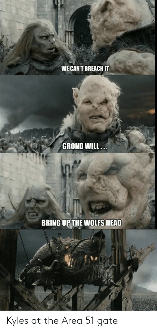 Head, Lord of the Rings, and Gate: WE CANT BREACH IT  GROND WILL.  BRING UP THE WOLFS HEAD Kyles at the Area 51 gate