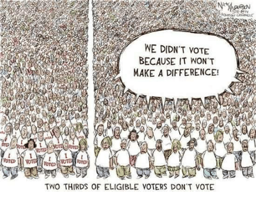 Memes, 🤖, and Make A: WE DIDN'T VOTE  BECAUSE IT WON'T  MAKE A DIFFERENCE!  TWO THIRDS OF ELIGIBLE VOTERS DONT VOTE