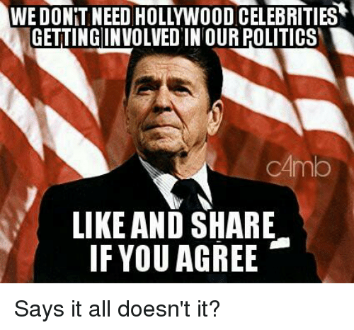 Memes, 🤖, and Hollywood: WE DONT NEED HOLLYWOOD CELEBRITIES  GETTINGINVOLVED IN OUR POLITICS  CAmb  LIKE AND SHARE  IF YOU AGREE Says it all doesn't it?