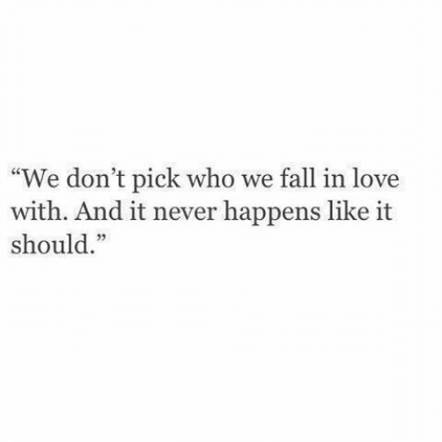 "Fall, Love, and Never: ""We don't pick who we fall in love  with. And it never happens like it  should."